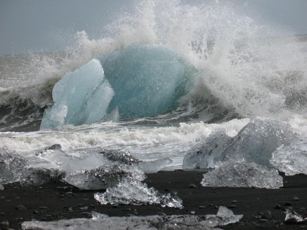 Island Eisberge Brandung