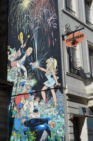 Comic Rundgang in Brüssel Oliver und Columbine