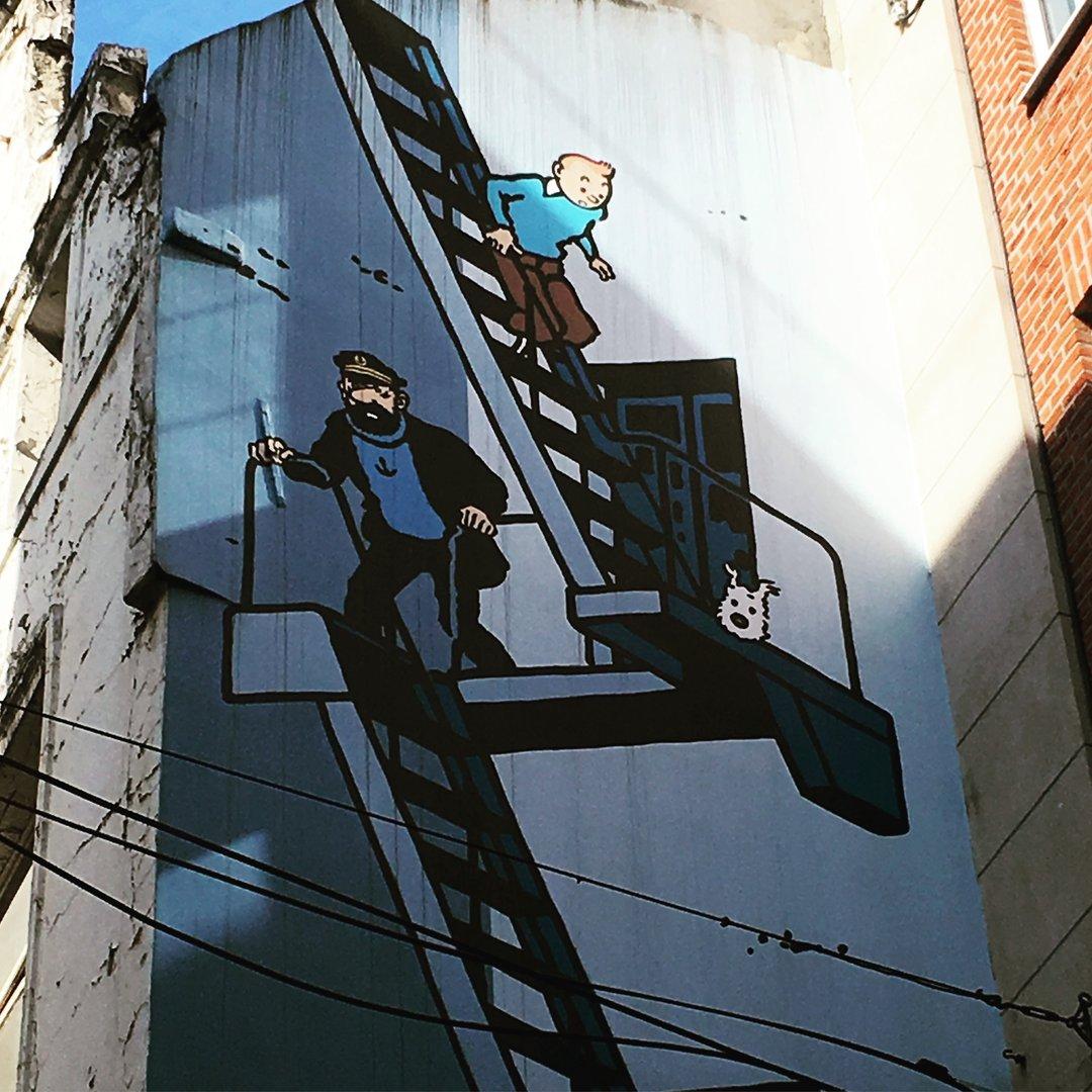 Wandbild Tim und Struppi in Brüssel