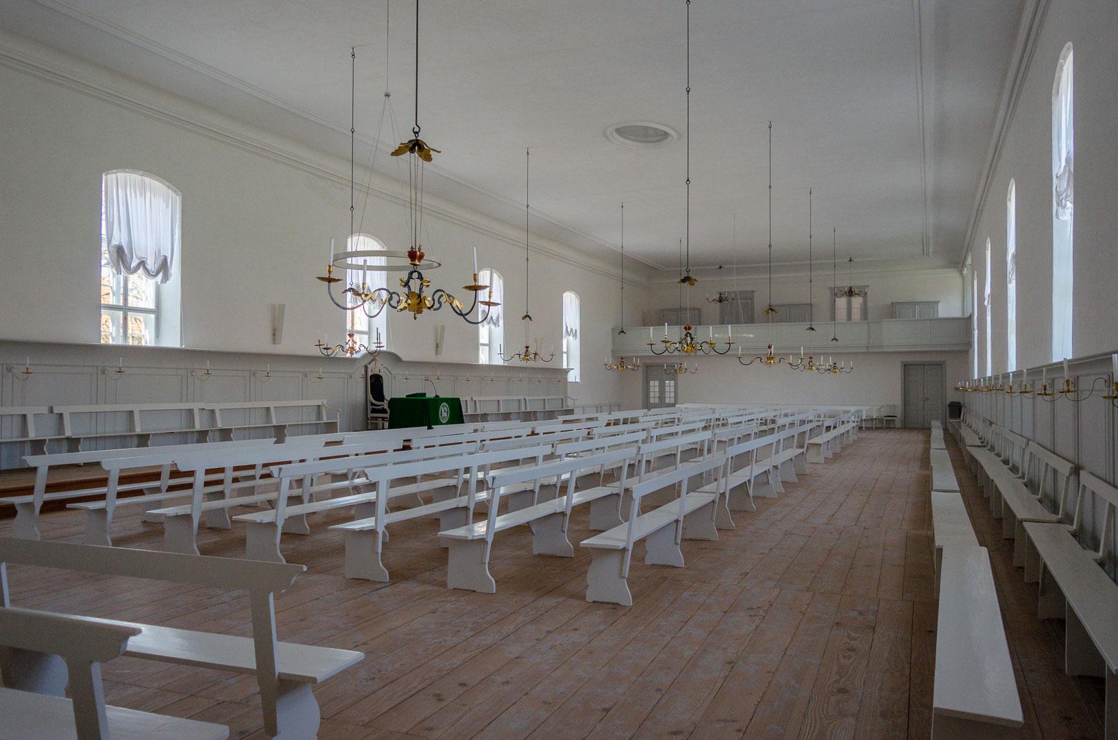 Innenraum der Kirche in Christiansfeld